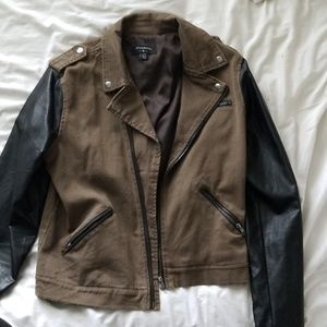 urban outfitters brown leather moto jacket